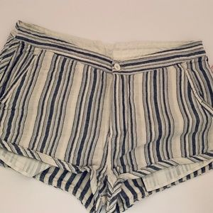 NWT Free People Navy/Blue Striped Shorts Size 12